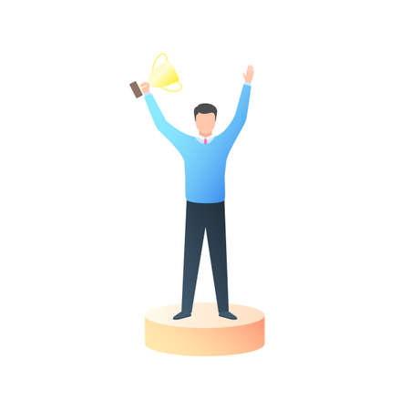 Winner with a gold Cup in his hand. A young man is a successful businessman, a man is an office Manager. Vector illustration in trendy flat style cartoon isolated on white background