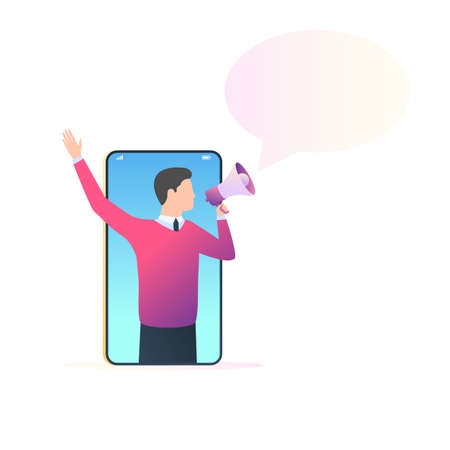 Man with megaphone on screen smartphone and bubble for text. Mobile advertising, efer a friend concept. Vector illustration in trendy style with gradients, the pattern for the banner design of the website Stok Fotoğraf - 126370660