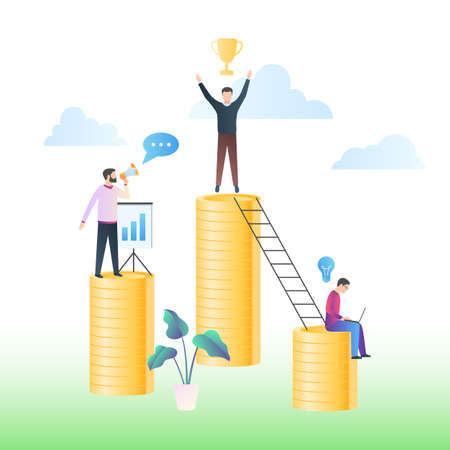 Successful businessman on top of a stack of coins. The concept of a successful economic strategy, monetary profit, investment management. Vector illustration in trendy flat style with gradients