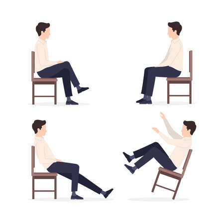 Man sitting on a chair in different poses: relaxed, constrained posture, throwing his leg over his leg, falls. Vector illustration isolated on white background 스톡 콘텐츠
