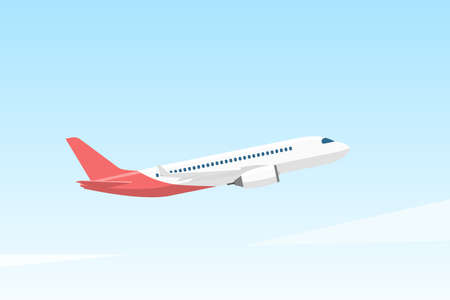 Passenger airplane flies in the clear sky. Vector illustration