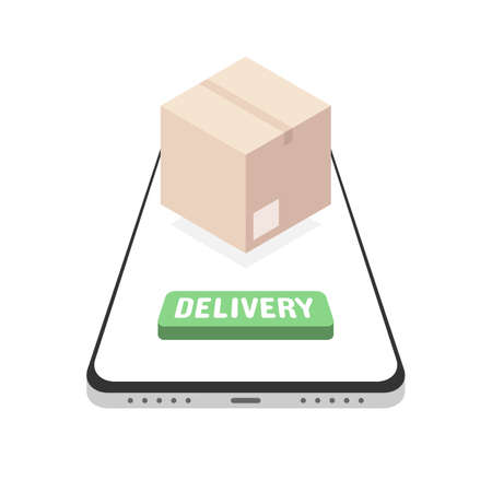 Mobile phone with delivery service app. Order tracking, purchase of goods in the online shop. Shipping of box, package, cargo transportation. Vector illustration isolated on white background Çizim