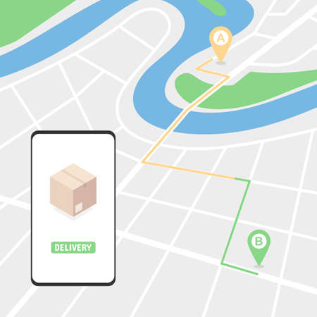 Tracking the order, route on the map. Online delivery service concept. Vector illustration