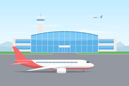 Passenger airplane on the runway of an airport building with a control tower in the background airplane in the sky. Vector illustration