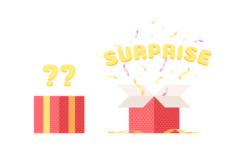Closed box with question mark and open gift box with ribbon, confetti. Surprise in the box, congratulations, win. Vector illustration isolated on white background
