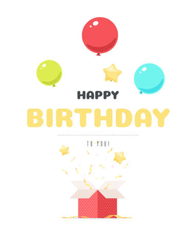 Birthday greetings typography lettering with balloons and candy from gift box. Vector illustration design template for greeting card, invitation, poster or web banner on website Stok Fotoğraf