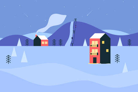 Winter ski resort with hotel and ski lifts. Ski track in the mountains, winter landscape. Vector illustration