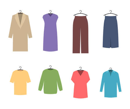 Clothes on hangers icons set. Fashion store concept. Vector illustration in trendy style isolated on white background Stok Fotoğraf