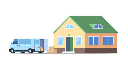 Moving house. A minivan with cardboard boxes and a new house. Vector illustration isolated on white background