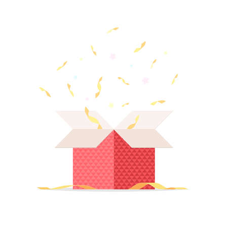 Open gift box with ribbon and confetti. Surprise in the box, congratulations. Vector illustration isolated on white background Stok Fotoğraf