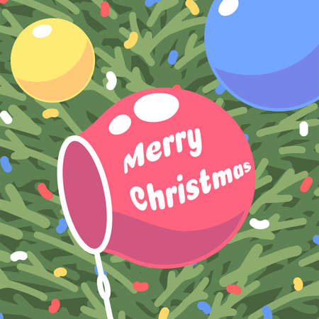 Bubble with the inscription Merry Christmas on the background of the Christmas tree and colored confetti. Vector illustration
