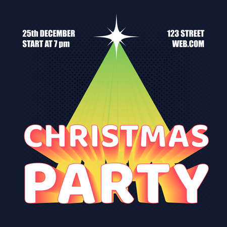Christmas party flyer. Vector illustration template for website design, social network, mobile application, poster or brochure