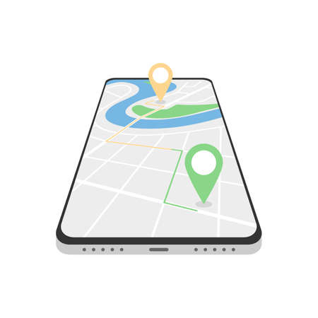 GPS Navigator, city map application in your phone. Track your route on your smartphone screen. Search locations. Vector illustration isolated on white background