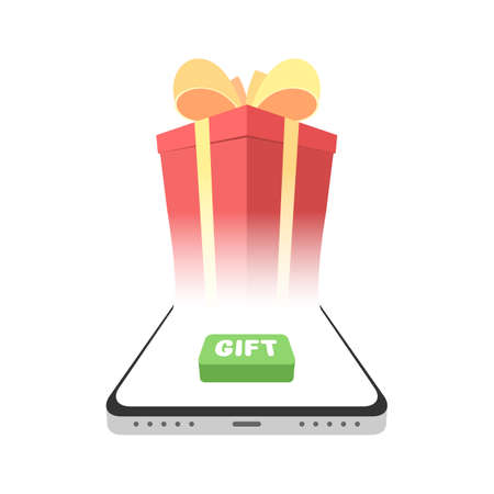 Smartphone with gift box on the screen and button. Online marketing concept. Vector illustration isolated on white background