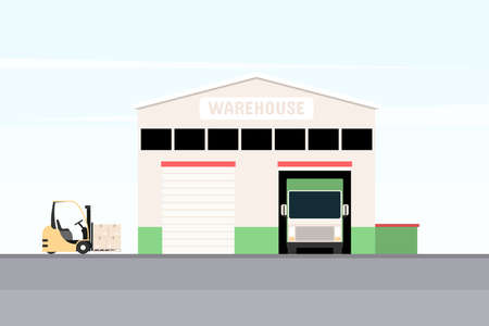Warehouse with loading truck and forklift. The concept of logistics, delivery and packaging of goods. Vector illustration