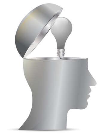 bulb and head Stock Vector - 17336921