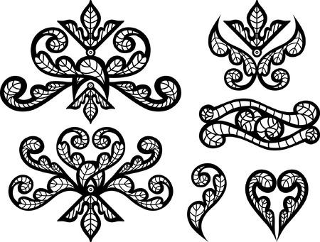 flowery: florido encaje bordado  Vectores
