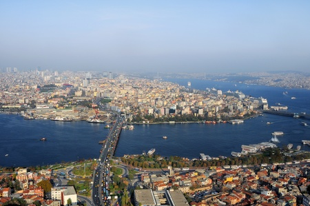 horns: Aerial view of Golden Horn, Istanbul, Turkey