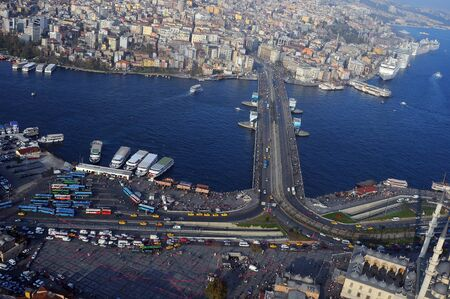 Aerial view of Golden Horn, the Galata Bridge  Istanbul, Turkey photo