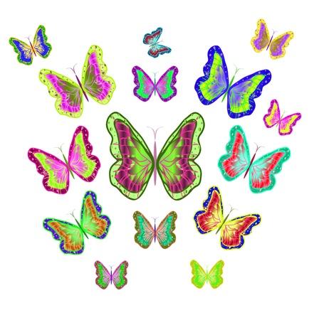 motley: Dieci brillante Motley Illustrazione Butterflies.Vector Vettoriali