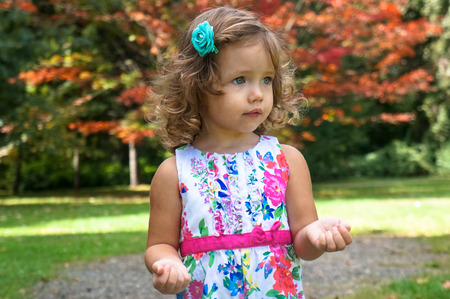 cute baby girl in the forest