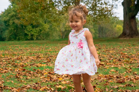 only one girl: cute baby girl in the forest
