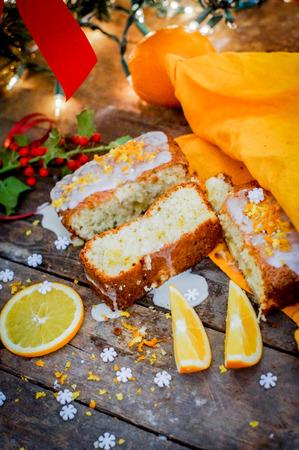 orange pie on wooden table Stock Photo - 25860732