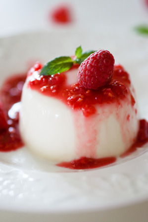 panna cotta in closeup shot  photo