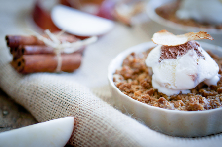 apple crumble with ice cream photo
