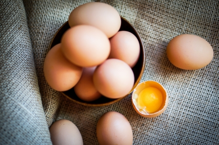 farm raised brown eggs photo