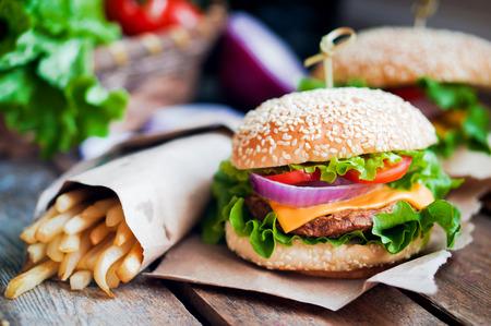 burger and fries: burger