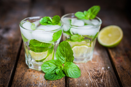 water with lemon,lime and mint Stock Photo
