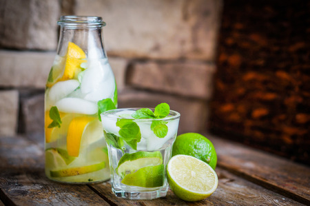 water with lemon,lime and mint Banco de Imagens