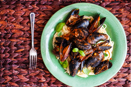 pasta with mussels photo