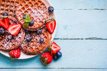 waffles with berries photo