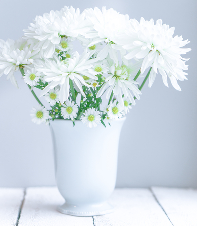 chamomile flower: Daisies in white vase on wooden background