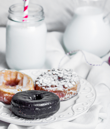 milk with donuts photo