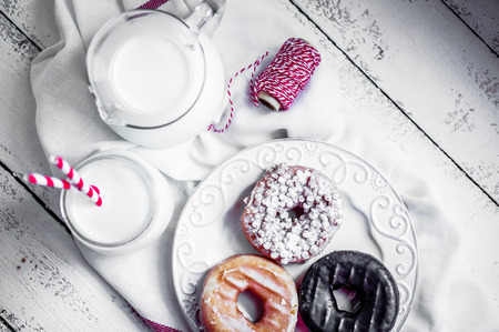 donuts with milk photo