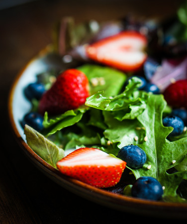 walnuts: salad with greens and berries