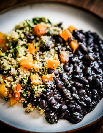 quinoa with bacl beans photo