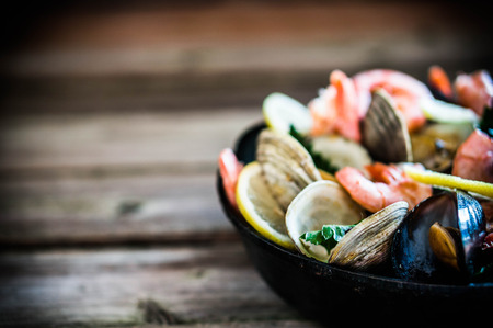 black dish: seafood Stock Photo