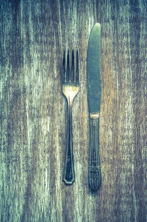 grunge flatware: rustic dinnerware Stock Photo