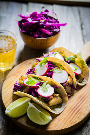 street food: fish tacos Stock Photo
