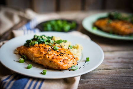 rustic food: fish with mashed potatoes