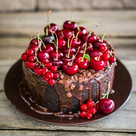 체리 나무 배경에 초콜릿 케이크