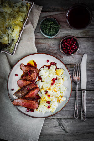 Grilled steak with cauliflower and pomegranate