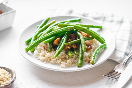 Meat with rice and green beans Stock Photo - 35642961