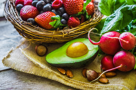 Fruits and vegetables on rustic background Imagens - 37375525
