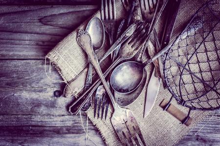Rustic silverware photo
