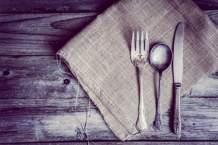 farm background: Rustic silverware